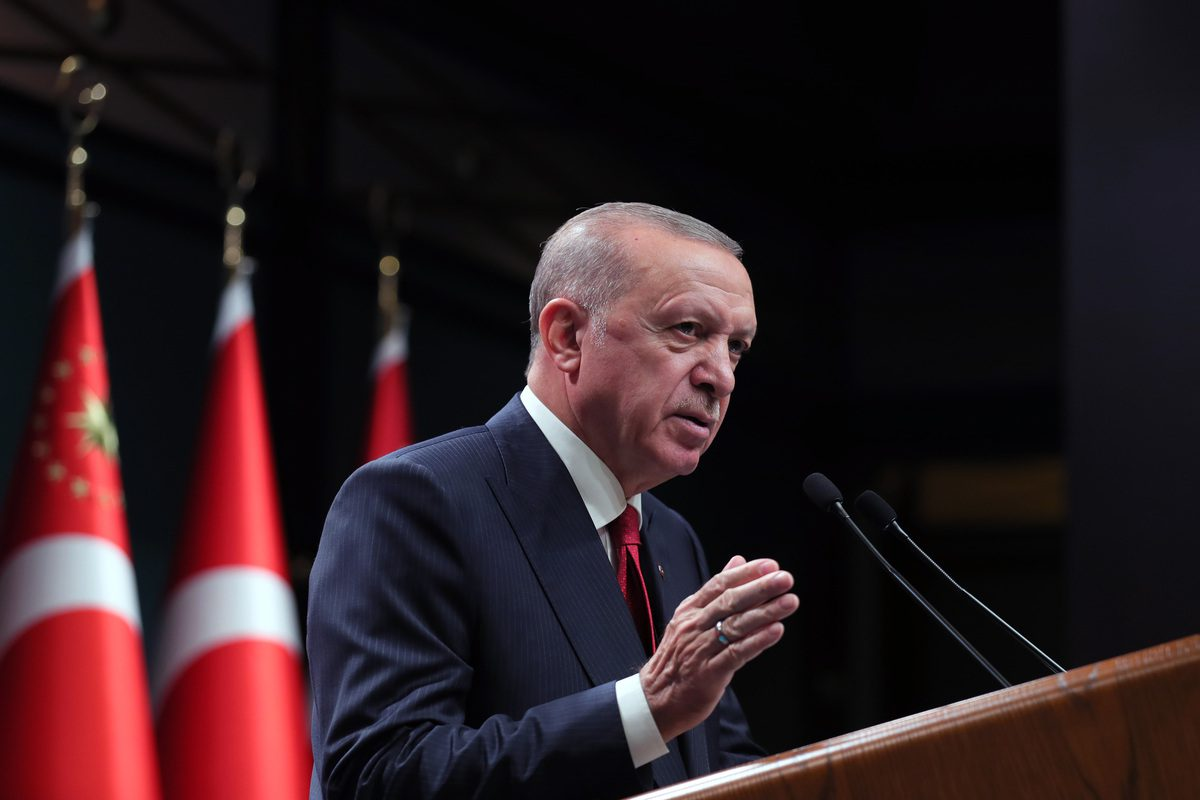 Turkish President Recep Tayyip Erdogan in Ankara, Turkey on October 11, 2021 [Mustafa Kamacı/Anadolu Agency]