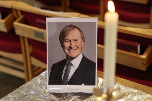 A portrait of David Amess MP ahead of a service at St Michael's Church in Chalkwell, UK on 17 October 2021[Hollie Adams/Getty Images]