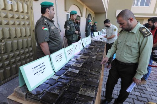 Gaza exhibits seized narcotics to highlight war on drugs, in Gaza on 20 October 2021 [Mohammed Asad/Middle East Monitor]