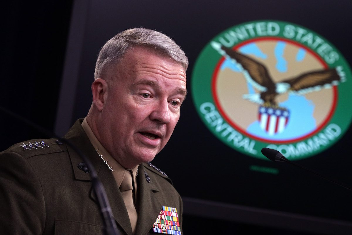 US Marine Corps Gen. Kenneth McKenzie, commander of US Central Command, participates in a press briefing October 30, 2019 at the Pentagon in Arlington, Virginia. [Alex Wong/Getty Images]