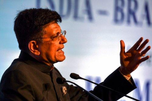 India's Minister of Railways and Commerce Piyush Goyal gestures as he speaks during the India-Brazil Business Forum meeting in New Delhi on January 27, 2020 [MONEY SHARMA/AFP via Getty Images]