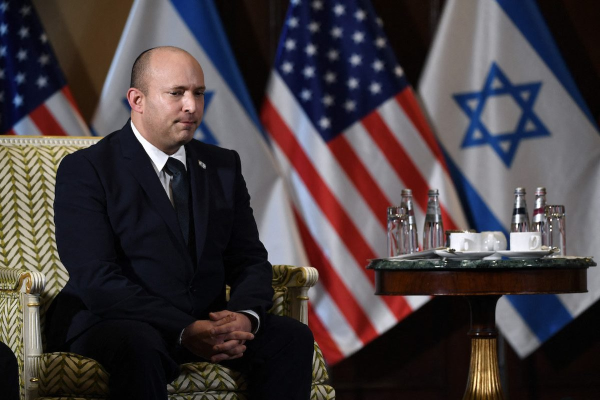 Israeli Prime Minister Naftali Bennett listens during a meeting with US Secretary of State Antony Blinken at the Willard Hotel in Washington, DC, on 25 August 2021. [OLIVIER DOULIERY/POOL/AFP via Getty Images]