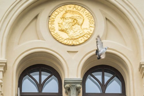 A peace dove flies past a relief of Alfred Nobel after it was released in front of the Nobel Peace Center in Oslo, Norway, on 8 October 2021. [ALI ZARE/NTB/AFP via Getty Images]