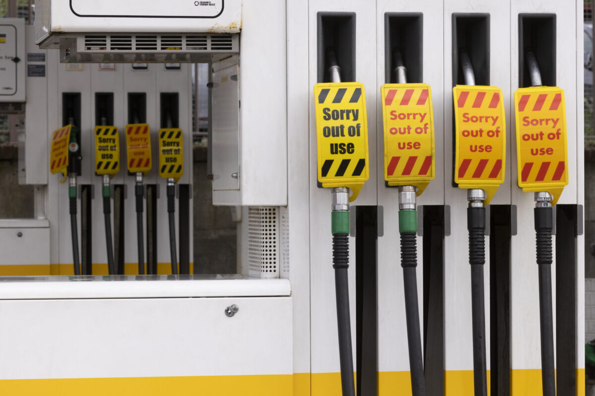 KENT, UNITED KINGDOM - OCTOBER 05: Empty fuel pumps at an Esso petrol station on October 5, 2021 in Maidstone, United Kingdom. The Petrol Retailers Association (PRA), which represents almost 5,500 of the UK's 8,000 filling stations, said that around 20 percent of forecourts in London and the South East were out of fuel yesterday. (Photo by Dan Kitwood/Getty Images)