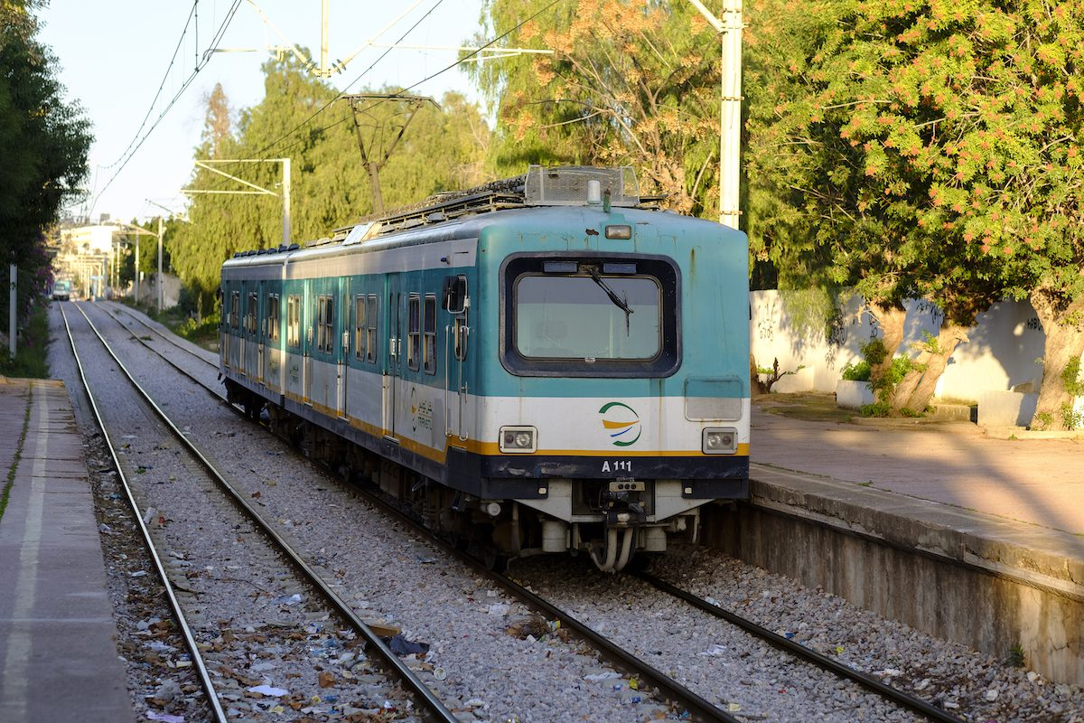 The Carthage Dermech Train station of the TGM (Tunis-Goulette-Marsa) light rail line on 21 December 2017, in Tunis, Tunisia. [Thierry Monasse/Getty Images]