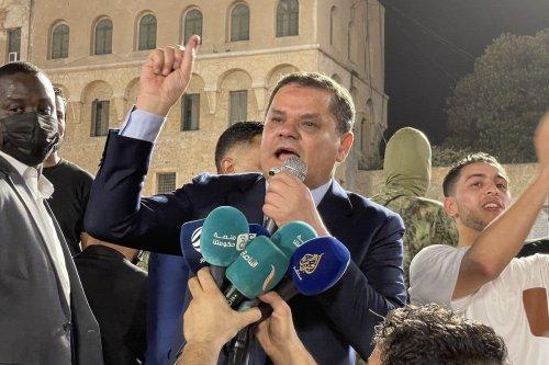 Libyan Prime Minister Abdul Hamid Dbeibeh speaks during a protest in Tripoli, Libya on 21 September 2021 [Mücahit Aydemir/Anadolu Agency]