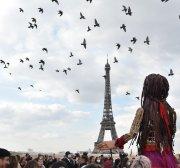 Giant refugee puppet 'Amal' reaches Paris en route to UK