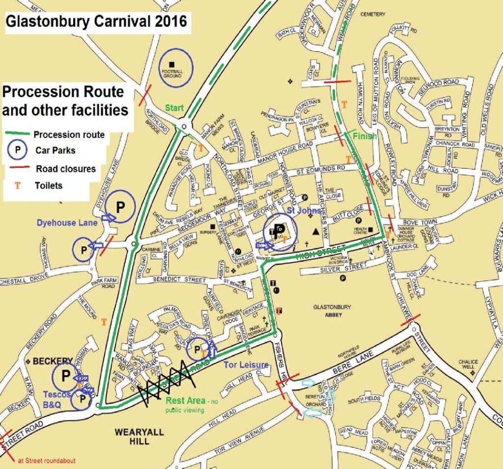 Glastonbury Carnival Route