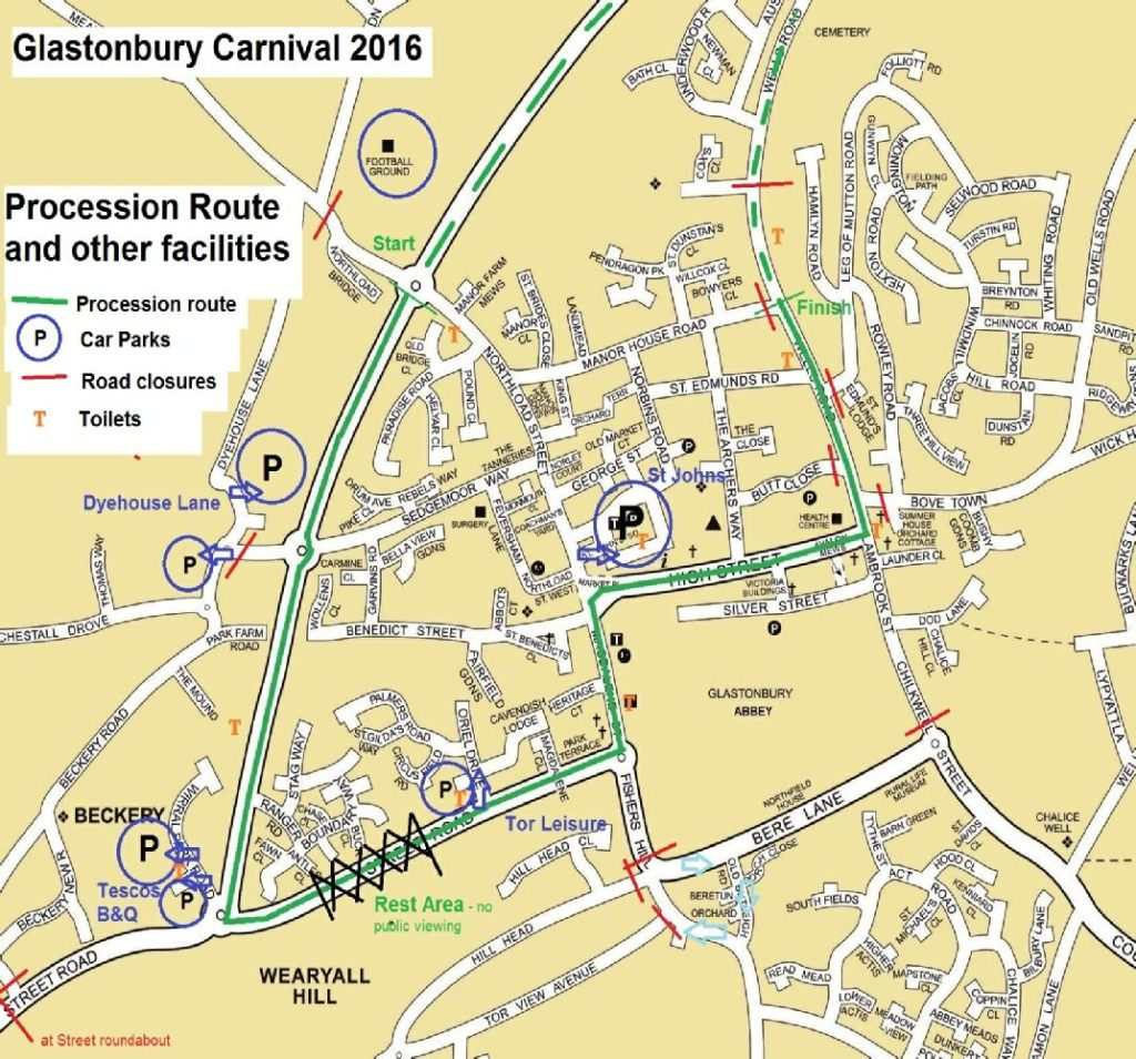 Glastonbury Carnival Route