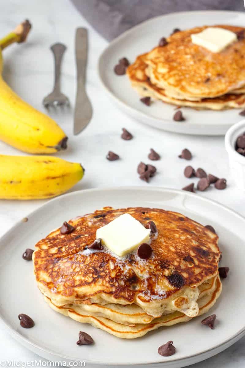 plate of Banana chocolate chip pancakes