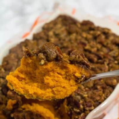heaping spoonful of homemade sweet potato casserole