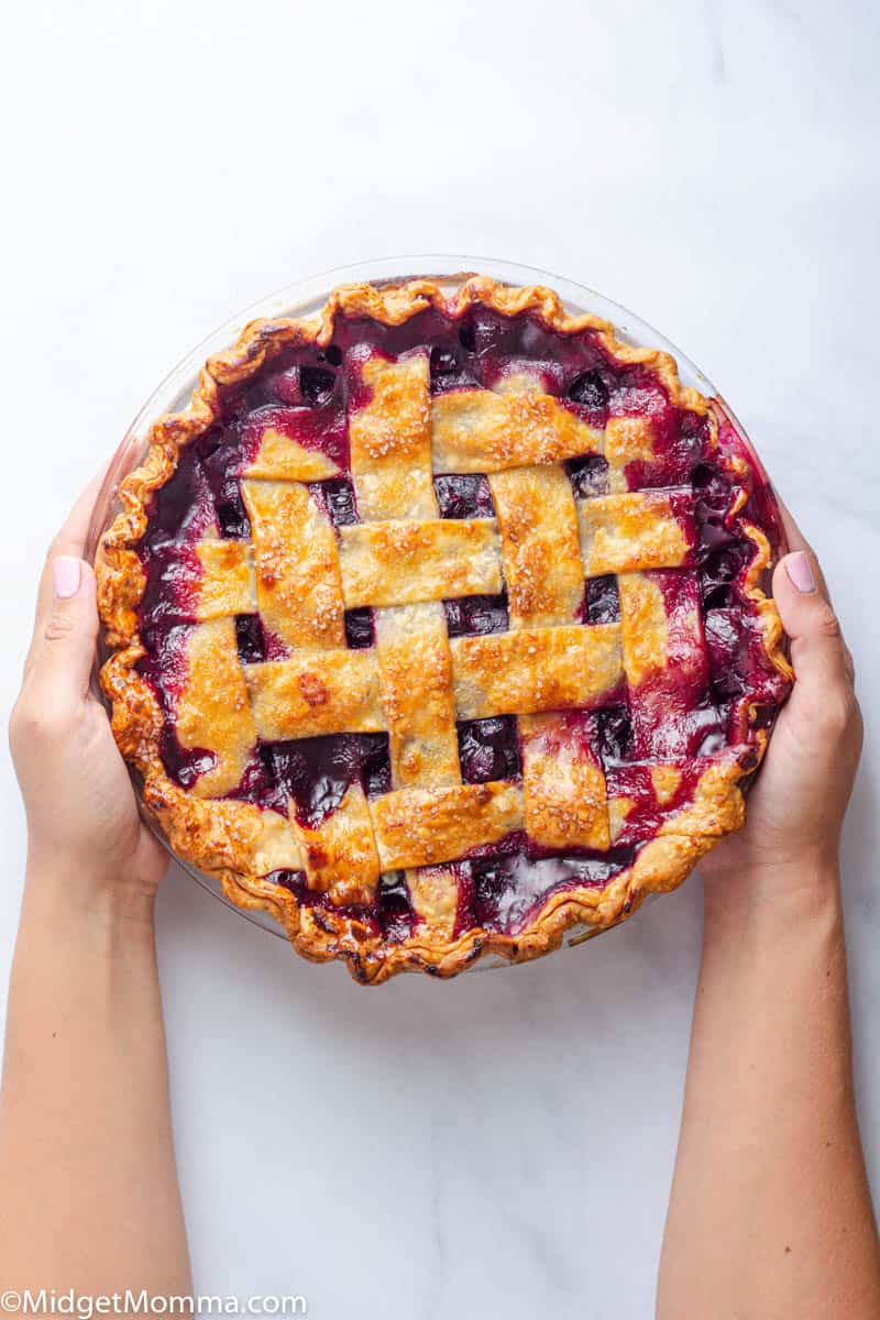 Hands holding a blueberry pie with a lattice pie crust