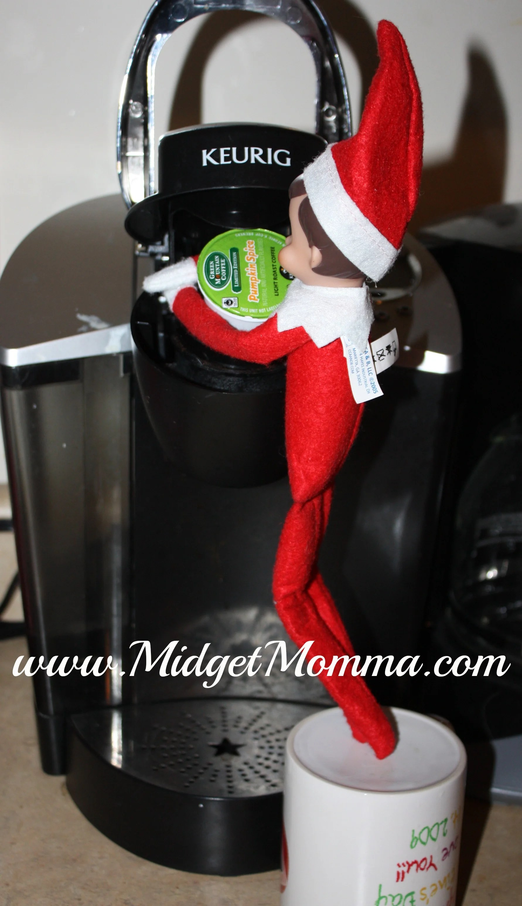 Elf on the Shelf Boy Makes Coffee in mom's Keurig this year is a great Elf on the Shelf Prank or idea! Check out this and tons of other amazing Quick Elf on the Shelf Ideas!