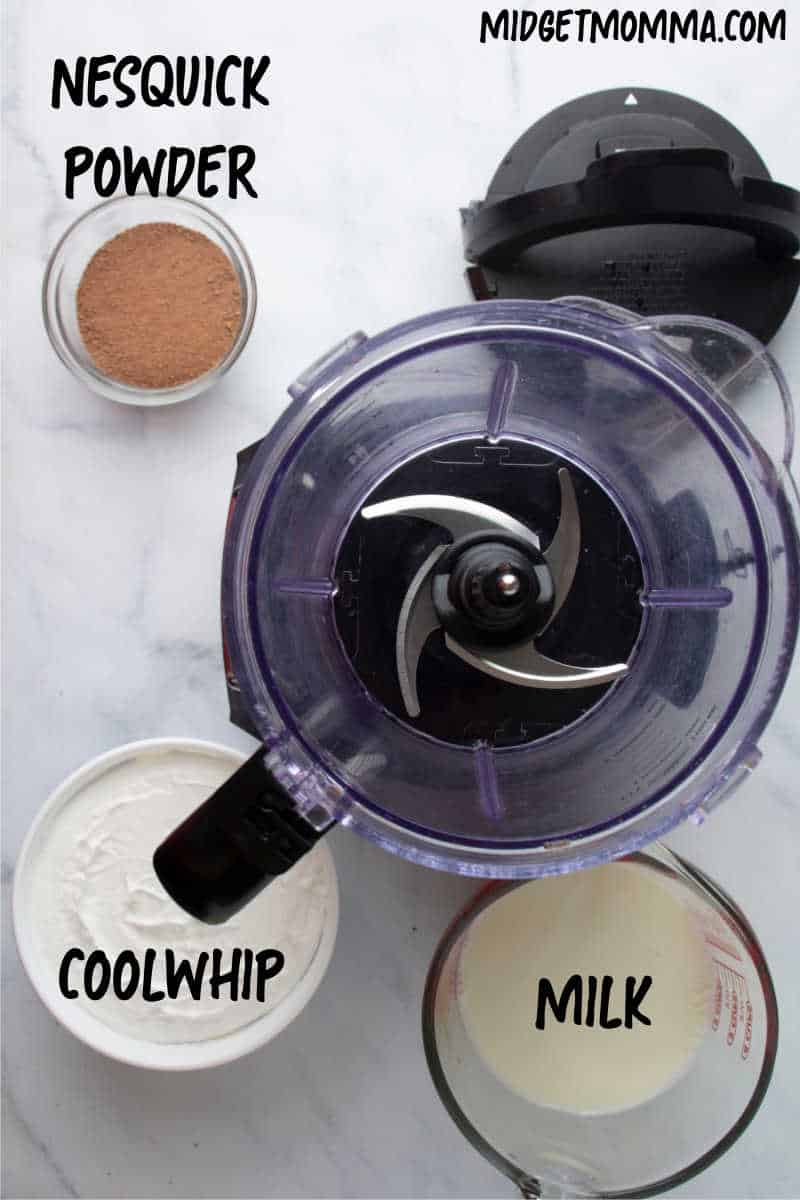 Wendy's Frosty Copy Cat Recipe ingredients - milk, cool ship and nesquick chocolate powder