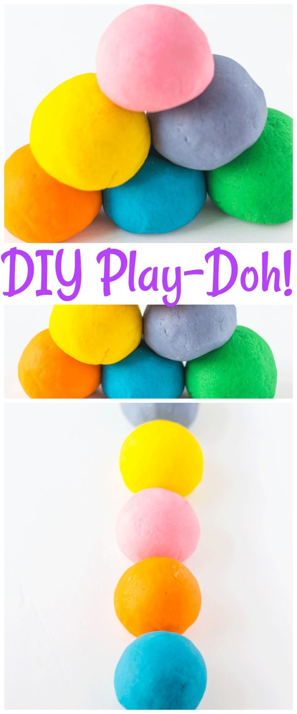 This homemade playdough is so much fun to make with the kids! The kids will love making this diy playdough in the colors that they pick! #playdough #diy #craftsforkids