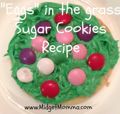 """Easter Cookies - """"Eggs"""" in the grass Sugar Cookies Recipe - Super easy for the kids to help with making and super cute for Easter Dessert"""