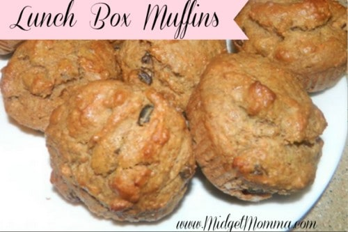 Lunchbox Muffins Recipe made with honey, carrots, zucchini, whole wheat flour, bananas, apple juice. Easy to make muffins, healthy for the kids lunch boxes.