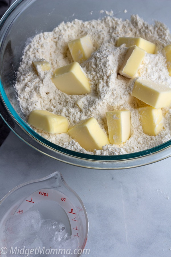 homemade pie crust ingredients - butter and flour