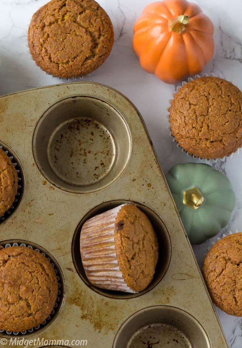 Healthy pumpkin muffins in a muffin tin