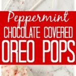 These Chocolate Covered Peppermint Oreos are the perfect holiday treat. You can make white Chocolate covered oreos or milk chocolate covered oros and have the perfect chocolate and mint cookie. Add a lolipop stick to your chocolate covered oreos and you have an awesome chocolate covered oreo pop!