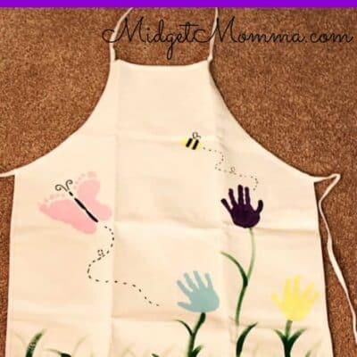Kids Foot Print and Hand Prints Flower garden Apron