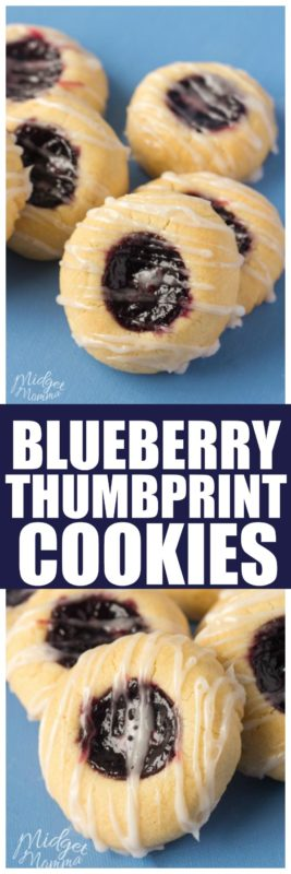 If you are looking for an easy thumbprint cookie recipe then you are in luck! These Blueberry thumbprint cookies are so easy to make! #blueberry #ThumbprintCookies #BlueberryCookie #Blueberrydessert #ThumbprintCookie