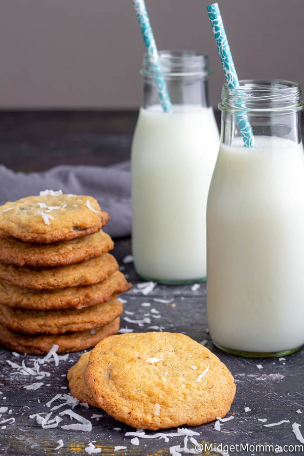 coconut chocolate chip cookies and a glass of milk