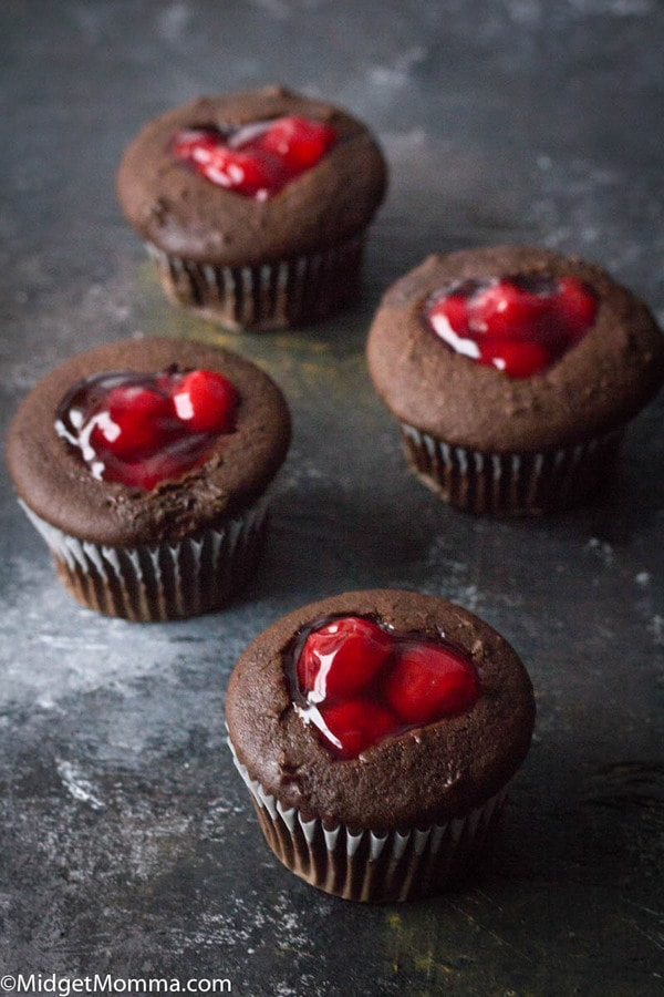 chocolate cupcakes with cherry filling
