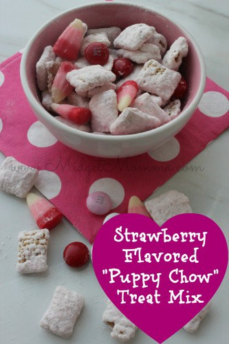 "Strawberry Flavored ""Puppy Chow"" Treat Mix is super festive for Valentine's Day. It is easy to make with some white chocolate and cake mix."
