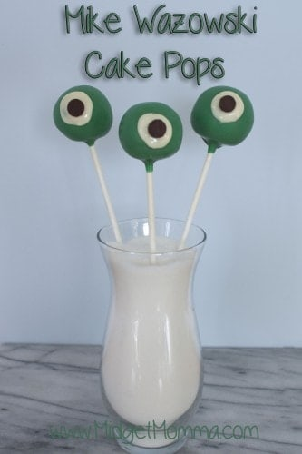 Mike is the easiest charter to make because he is a round ball with a giant eye. They are simple to make with white chocolate and chocolate chips.