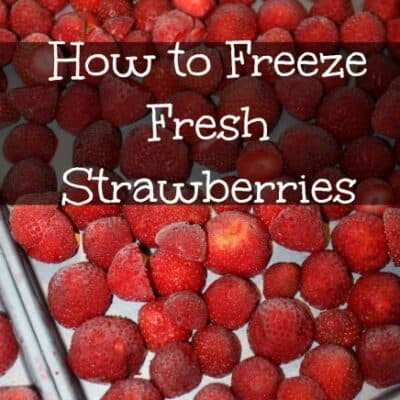Freezing Strawberries is easy and it locks in the freshness of the berries from the day we picked them. Plus it saves a ton on our budget.