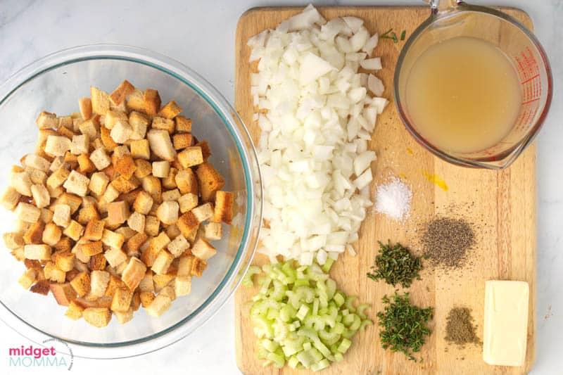 Rosemary Sage Homemade Stuffing ingredients