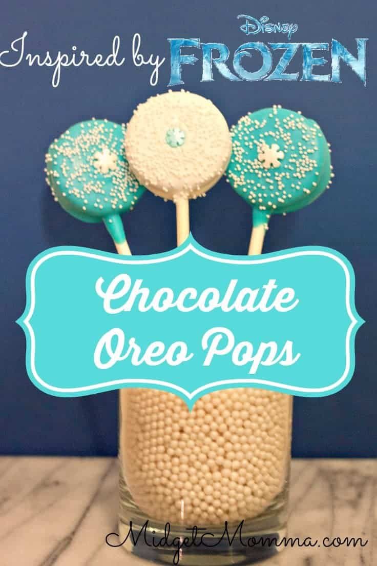 These chocolate Oreo pops would make any girl feel like a special princess. Disney Frozen Inspired Oreos Pops have a great coating of white chocolate and sprinkles.