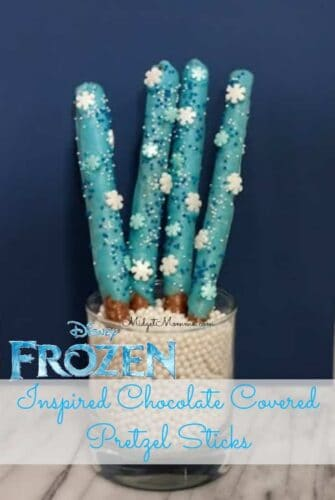Disney Frozen Inspired Blue Chocolate Cover Pretzels with the PERFECT Frozen blue color. These easy to make Frozen treats