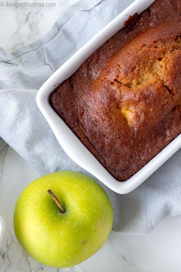 Loaf of pumpkin apple bread. Homemade fresh pumpkin apple bread on a plate.