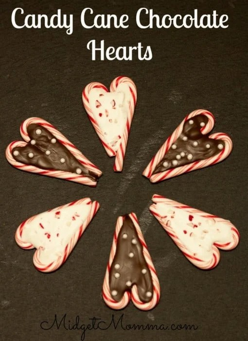 Candy Cane Chocolate Hearts