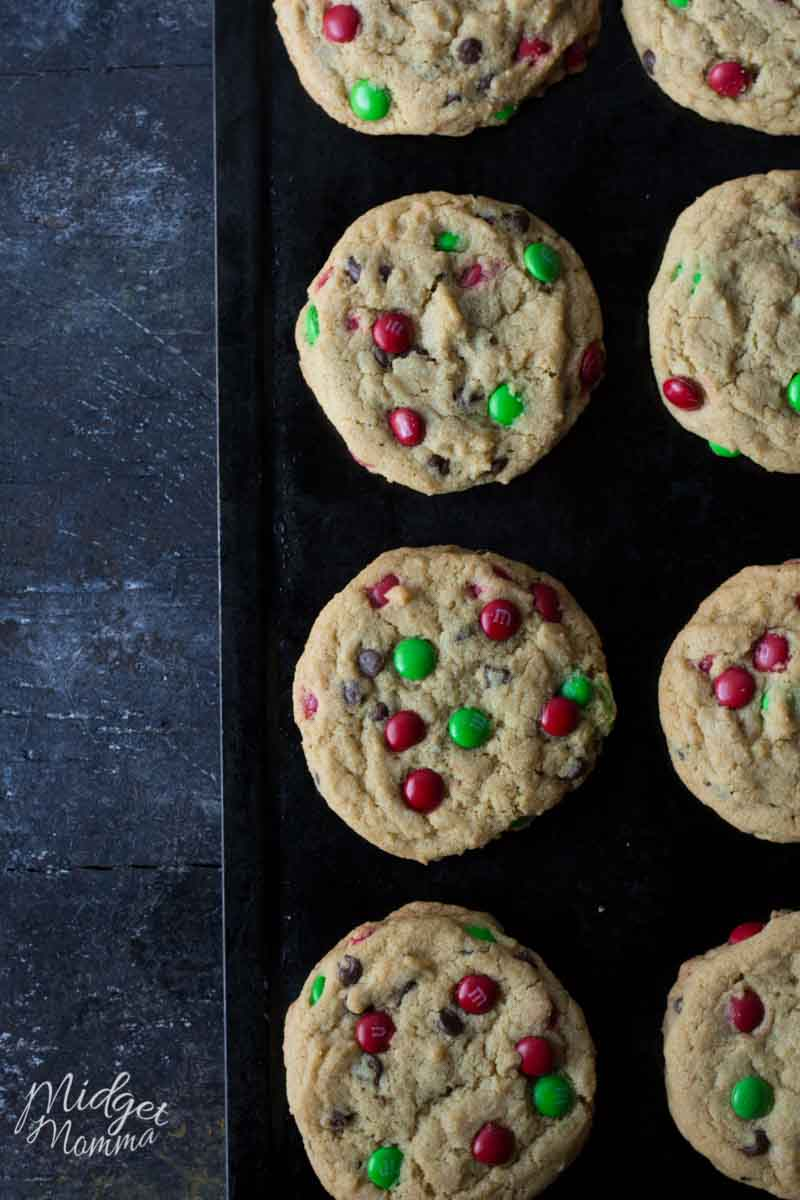 Chocolate Chip M&M's Christmas Cookies.