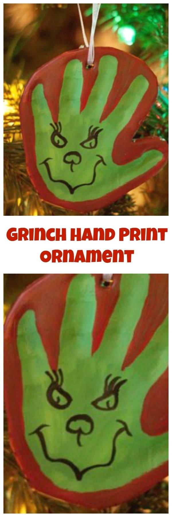 The Grinch Hand Print Diy Clay Ornament