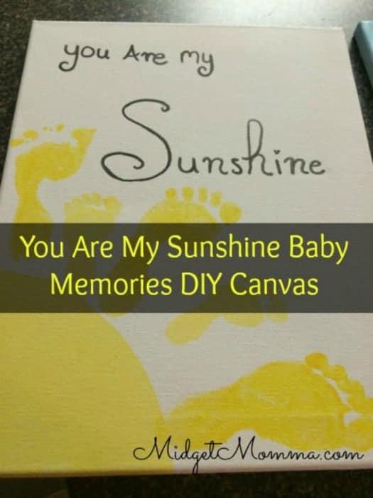 Kids feet DIY memory craft sunshine canvas kids mother's day craft