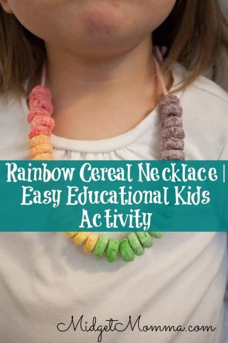 Rainbow Cereal Necklace easy kids educational activity