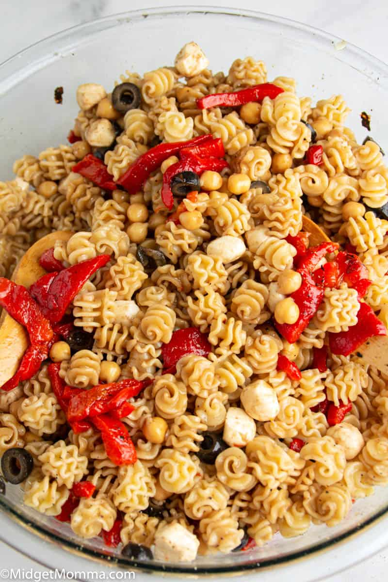 Easy cold pasta salad in a glass bowl