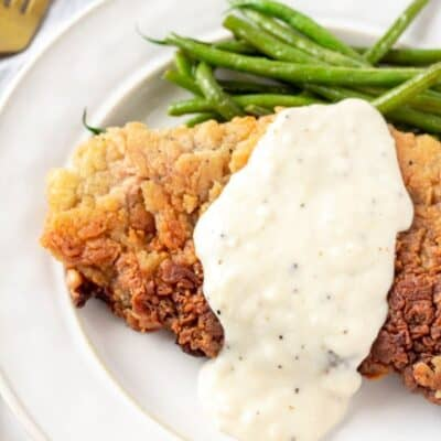 Homemade chicken fried steak with white gravy