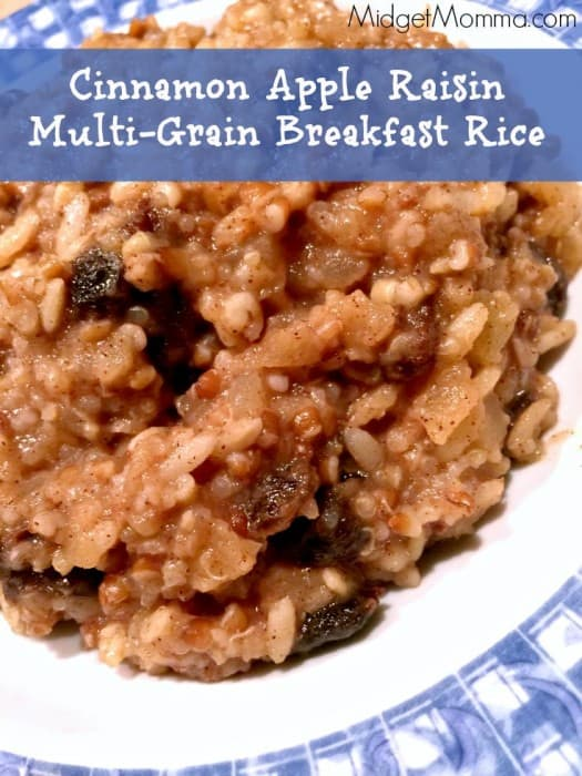 I came up with the super easy Cinnamon Apple Raisin Multi-Grain Rice, that uses the Brown & Wild Rice and Multi-Grain Medley Minute® Ready to Serve Rice.