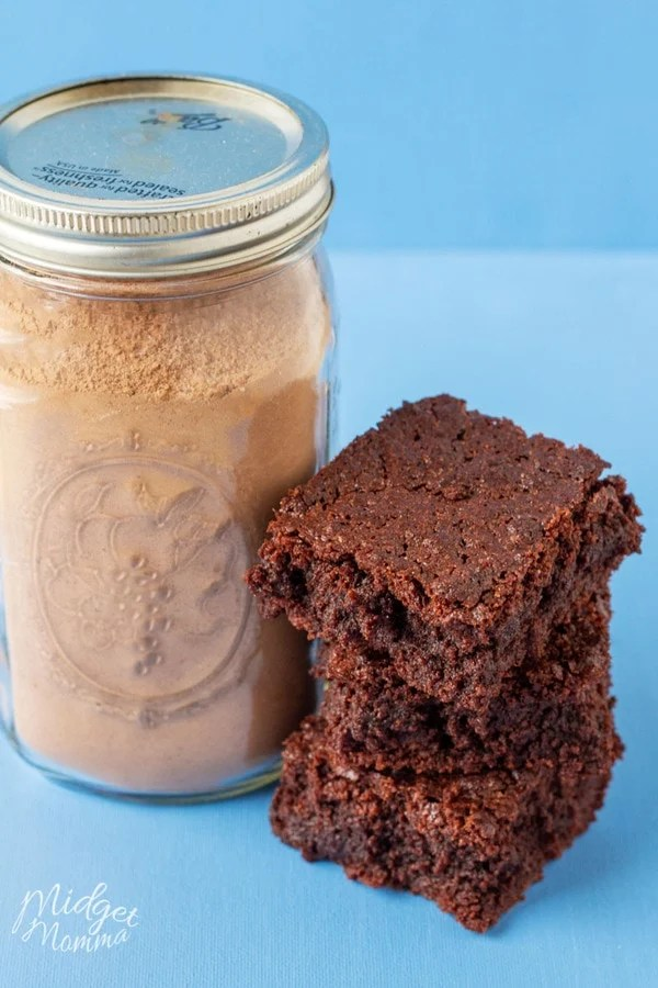 easy homemade brownie mix stored in a mason jar for easy brownie mixing