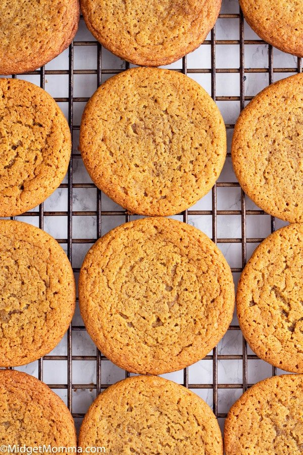 Molasses Cookies Recipe cooling on a baking rack