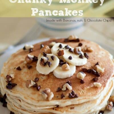 Chunky Monkey Pancakes . Homemade pancake recipe with chocolate chips, nuts and bananas. Chunky Monkey Pancakes make a great breakfast.