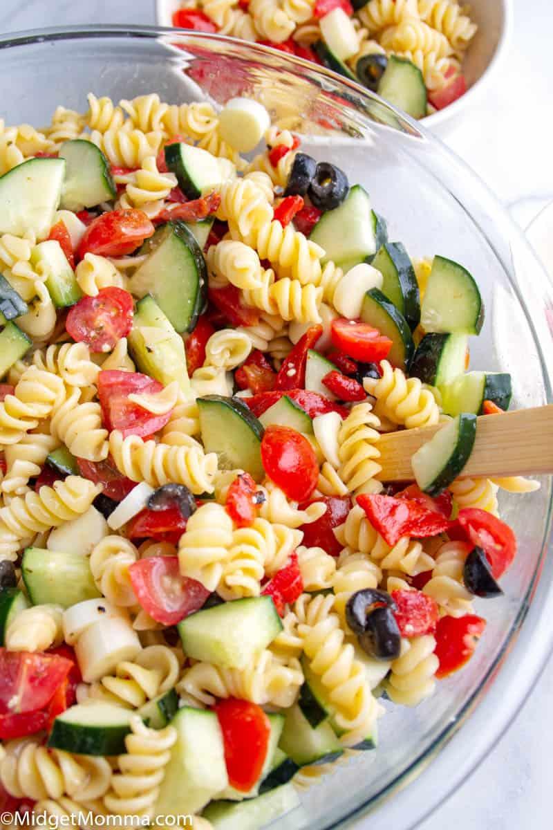 Italian Pasta Salad in a glass bowl