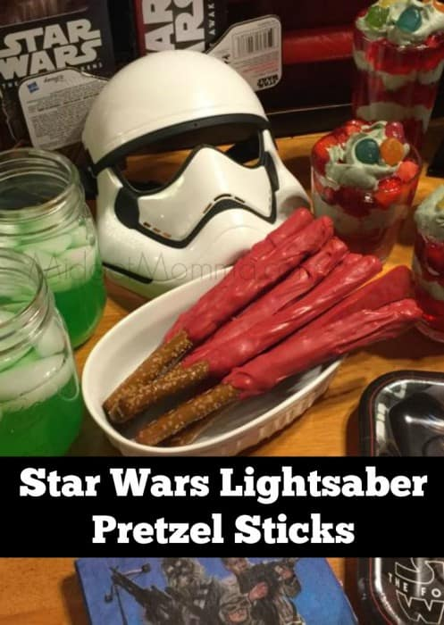 Star Wars Lightsaber Pretzel Sticks are a MUST for a Star Wars Party snack. Star Wars Lightsaber Pretzel Sticks are easy to make and fun too!