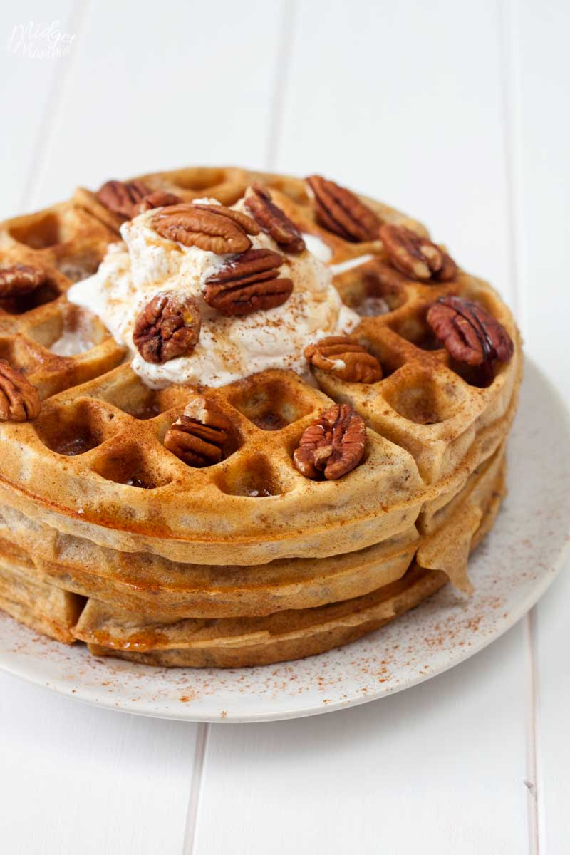 Pecan waffles on a white plate