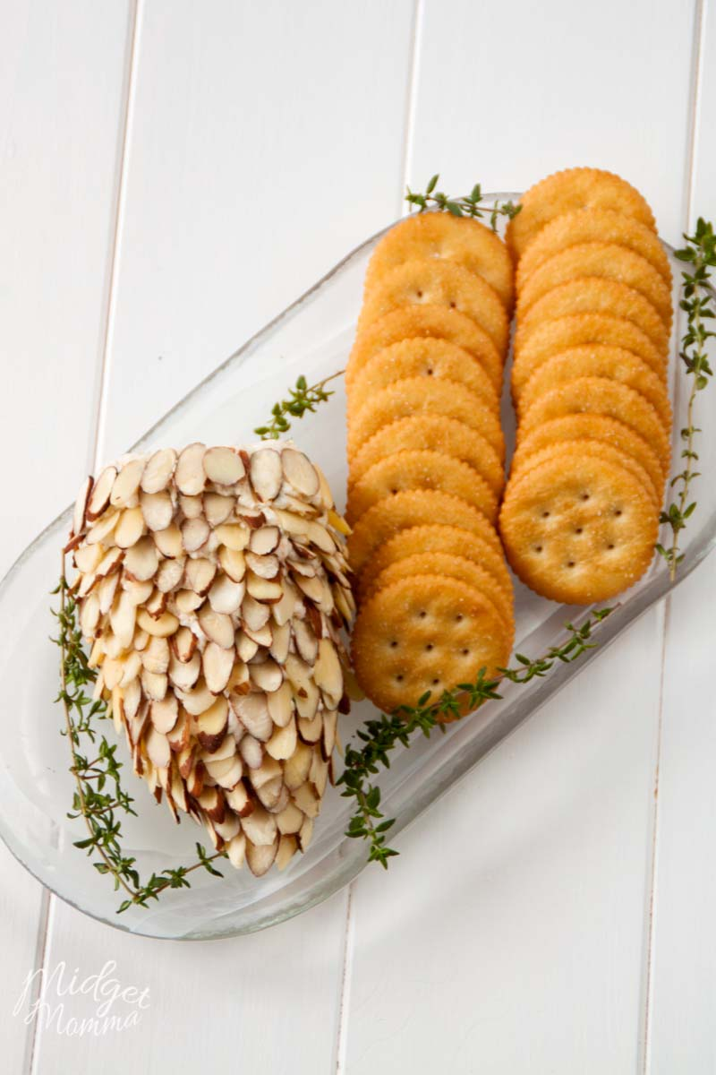 pinecone cheese ball with crackers on a tray